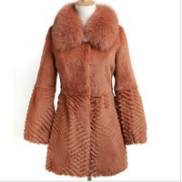 2013 Winter Women's Natural Rabbit Fur Coat with Fox Fur Collar Female  Medium-Long Slim Outerwear VK1151