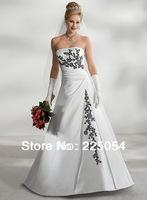 Custom 2013 White Long Black Embroidery Bridal Gown Wedding Dresses