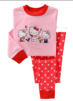 Children clothing cotton pink pajamas cartoon cat design leisurewear suit  6sets/lot Free shipping