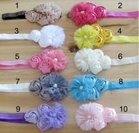 Baby Headband for Photography props cute headband Shabby Frayed Chiffon Flower plus  Rose flower Headband