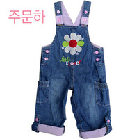 Female child infant baby spring and autumn flower popper open-crotch denim suspenders trousers rompers