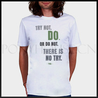 Free shipping STAR WARS YODA QUOTE lines try not or do not T-shirt cotton Lycra top Fashion Brand t shirt men new high quality