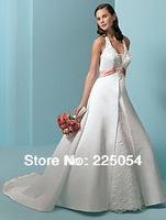 Custom  Halter A-line White/ Pink  Long  Bridal Gown Wedding Dresses 002