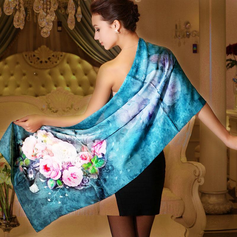2014 Fashion Accessories Scarf Shawl Spring And Autumn Pure Silk Scarf 178*52cm Blue Mulberry Silk Scarf Female Long Silk Scarf(China (Mainland))