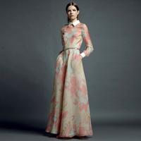 2013 spring and autumn fashion turn-down collar full length print long-sleeve dress maxi dress dress for women, free shipping
