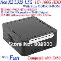 small desktop computers with AMD Athlon Neo X2 L325 Slim ODD CD-ROM 1G RAM 160G HDD windows or linux preinstalled HD3200 Graphic