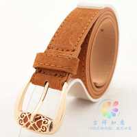 e new Korean version of the retro pigskin velvet belt buckle candy color women belt free shipping
