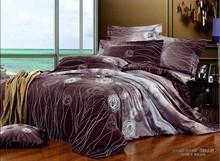 Brown Circle Line Queen Size cama 100% algodão edredon Incluir folha de rosto Bed fronha Frete grátis(China (Mainland))