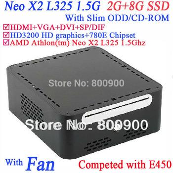 intel small computer with Slim ODD CD-ROM AMD Athlon(tm) Neo X2 L325 2G RAM 8G SSD windows or linux pre-installed HD3200 Graphic