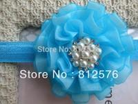 Baby Headbands girls headbands 3inch 10colors double layers Flower with pearl rhinestone headbands 25pcs/lot