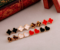 New Arrival! 2013 Fashion Clover or Heart or Leopard Stud Earrings For Women Costume Jewelry Female Earrings Sale Free Shipping
