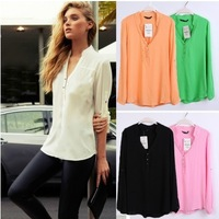 Free Shipping 2013 Hot Sale Women Spring Autumn New Fashion 5 Candy Colors Long Sleeve V Neck Blouse Chiffon Fashion Shirt 9743