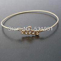 Free Shipping !!6pcs  High Quality Jewelry  Bridesmaid Gift Idea Gold Love Charm Bangle  Bracelet  Jewelry