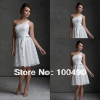 TT037 white lace free shipping short evening dresses 2014 with belt