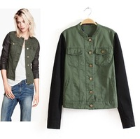free shipping 2013 autumn new  women's clothing wholesale stand collar splicing sleeve double pockets jacket  ft250