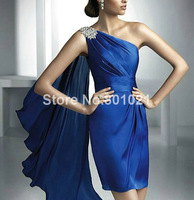 Real Photoes Satin fabirc Pleat and Beading Handwork one shoulder Cocktail Dress Royal Blue Free Shipping