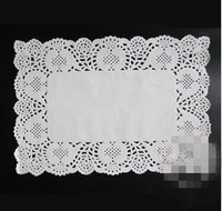 Free shipping 100pcs White Rectangle paper pad Lace Doilies Placemat Wedding Decoration 16*23cm