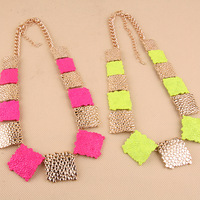 Free Shipping Cheap Neon color necklace female fashion short design fashion accessories metal accessories