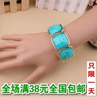 Free Shipping Cheap Harajuku top neon color candy color resin nsutite square elastic bracelet