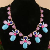 Free Shipping Cheap Fashion vintage rose flower color block short neon multicolour necklace chain