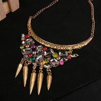 Free Shipping Cheap Summer miniskirt long design tassel inlaying multicolour gem necklace female