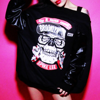 West coast spike HARAJUKU lovers design leather jacket baseball uniform outerwear  FREE SHIPPING