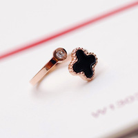 cute jewelry for cheap Four leaf clover sparkling diamond 18k rose gold color gold open ring female fashion titanium ring