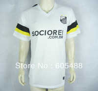Free shipping ! Thailand quality 2013/14 Santos home white soccer uniforms.Santos FC white Soccer jerseys,player version