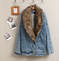 6108 - 1 detachable fur collar large add velvet suit collar batwing sleeve denim outerwear jacket type wadded jacket