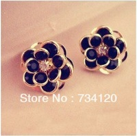 ES035 Min.order is $10 (mix order)  New Fashion Classic vintage Black Flower Shaped Metal Stud Earring with Free shipping