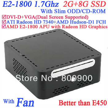 Free shipping mini itx with AMD E2-1800 APU Radeon HD Graphics with Slim ODD CD-ROM 2G RAM 8G SSD alluminum Windows or linux