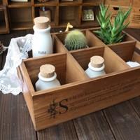 Zakka solid wood vintage retro finishing storage box storage box 6 plaid pallet japanese style