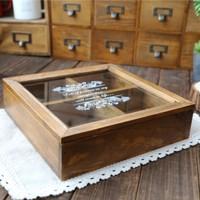 Zakka solid wood vintage print glass cover wooden box storage box jewelry box