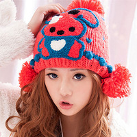 Holiday Sale Free Shipping Fashion Winter Lovely bear Knit Wool Beanie Hat Crochet Warm Hats for girl