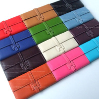 Wallet litchi leather buckle on h long design chromophous