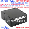 2013 NEW cheap mini itx with alluminum Windows or linux AMD E2-1800 APU Radeon HD Graphics with Slim ODD CD-ROM 2G RAM 20G HDD
