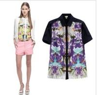 Free shipping women t shirt lady Europe Flower chiffon Floral Print shirt