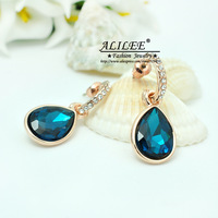 Free Shipping ALILEE Jewelry Czech Diamond Copper Real Gold Plating Earrings Fashion 2013 for WomenEarrings NEW ARRIVE LE-0026