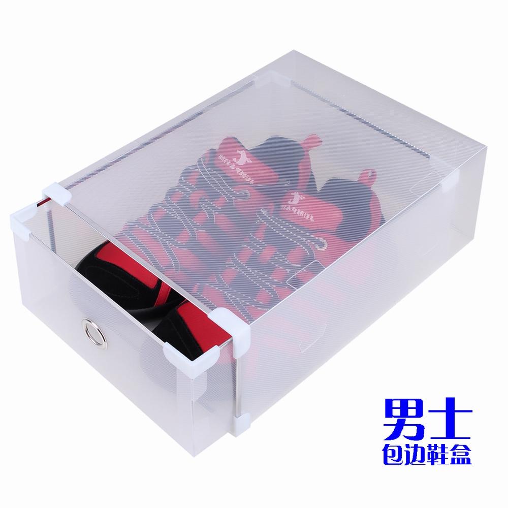 Free shipping Weight male thickening transparent crystal drawer hemming shoebox shoes storage shoe box(China (Mainland))