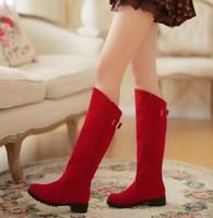 2013 new fashion Autumn-summer fashion flats women high-leg boots  red wedding shoes