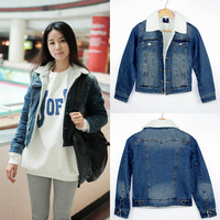 Ssy winter denim outerwear women's denim cotton-padded jacket berber fleece liner wadded jacket denim coat 9822