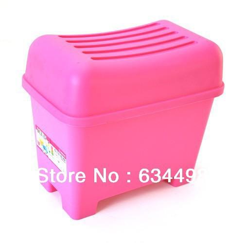 FREE SHIPPING Waterproof plastic storage stool /footstool Small (Pink)(China (Mainland))