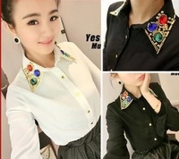 2014 New Women Fashion Long Sleeve Plastic Diamond Beaded Chiffon Shirt Blouse Black and White Free Shipping W86163