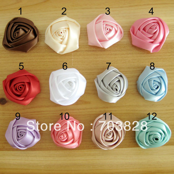 Free shipping Satin Rose flowers Handmade flowers for headbands Hairbands DIY flowers for hair clips Hair pins Hair accessories