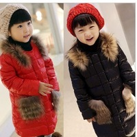 New 2013 winter new children's clothing Korean girls thickening fur collar padded Children plus Lamb Velvet coat 2 colors