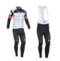 2013 Nalini Team Black-White&Gray Winter Thermal Fleece Long Sleeved Cycling Jersey /Cycling wear + Bib pants .853