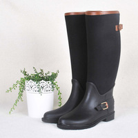 2014 High fashion black cloth boots aoid undesirable hasp fashion rainboots rain boots water shoes