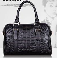 Fashion high-grade leather bag embossed leather bag lady portable shoulder diagonal black