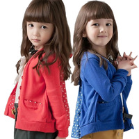 Retail Children Clothes  Clothing Girls Cardigans Long Sleeves Cute Full Buttons Design Baby Girl's Outerwear Kids Cotton Coat