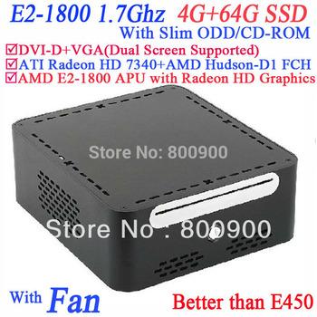 Free shipping small pc desktop with AMD E2-1800 APU Radeon HD Graphics Windows or linux with Slim ODD CD-ROM 4G RAM 64G SSD